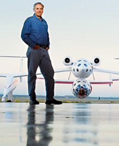 Burt Rutan with SpaceShipOne, X-Prize winner and flagship for Virgin Galactic
